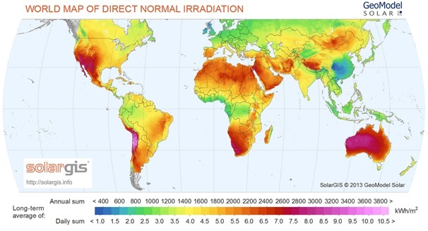Figure 2: World map of Direct Normal Irradiance (DNI)